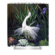 Egret And The Butterfly Shower Curtain