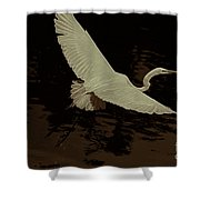Egret Fractalius Shower Curtain
