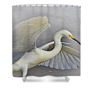 Egret Grace At The Beach Shower Curtain