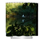 Egret Over The East River Shower Curtain