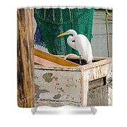 Egret With Fishing Net Shower Curtain