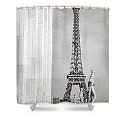 Eiffel Tour Paris Black And White Shower Curtain