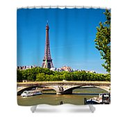 Eiffel Tower And Bridge On Seine River In Paris France Shower Curtain