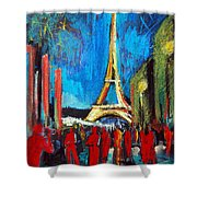Eiffel Tower And The Red Visitors Shower Curtain