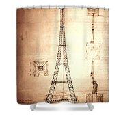 Eiffel Tower Design Shower Curtain