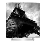 Eiffel Tower In Black And White. Ominous Sky Overhead Shower Curtain