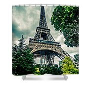 Eiffel Tower In Hdr Shower Curtain
