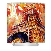 Eiffel Tower In Red Shower Curtain