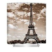 Eiffel Tower In Sepia Shower Curtain