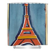 Eiffel Tower Orange Blue Shower Curtain