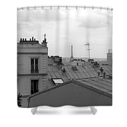 Eiffel Tower Over The Rooftops Shower Curtain