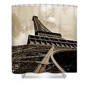 Eiffel Tower Paris France Black And White Shower Curtain
