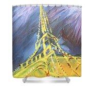 Eiffel Tower Paris Night Shower Curtain
