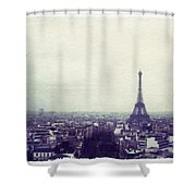 Eiffel Tower Paris Polaroid Transfer Shower Curtain by Jane Linders