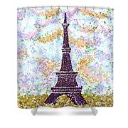 Eiffel Tower Pointillism Shower Curtain