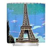 Eiffel Tower Posterized Shower Curtain