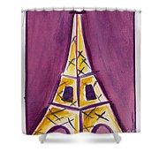 Eiffel Tower Purple And Yellow Shower Curtain