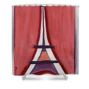 Eiffel Tower Red White Shower Curtain
