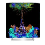 Eiffel Tower Topiary Shower Curtain