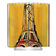 Eiffel Tower Yellow Black And Red Shower Curtain