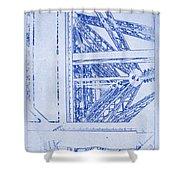 Eiffel Towers Steel Frame Blueprint Shower Curtain