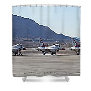 Eight F-16 Thunderbird Falcon's On Static Display Nellis Shower Curtain