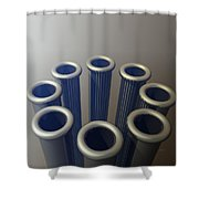 Eight Metallic Tubes Shower Curtain