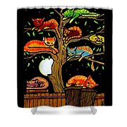 Eight Tree Cats Shower Curtain