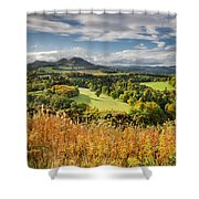 Eildon Hills In Autumn Shower Curtain