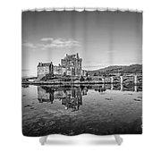 Eilean Donan Castle Black And White Shower Curtain