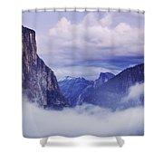 El Capitan Rises Above The Clouds Shower Curtain