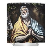 El Greco's The Repentant Saint Peter Shower Curtain