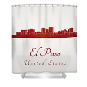 El Paso Skyline In Red Shower Curtain