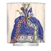 Elaborate Court Dress In Electric Blue Shower Curtain