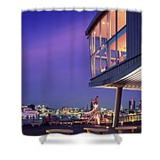 Elbe River With Waterfront Skyline Shower Curtain