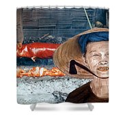 Elderly Vietnamese Woman Wearing A Conical Hat Altered Version Shower Curtain