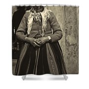 Elderly Woman In Black And White Shower Curtain