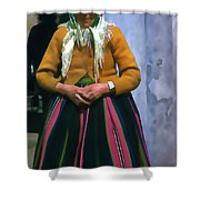 Elderly Woman Stylized Digital Art Shower Curtain