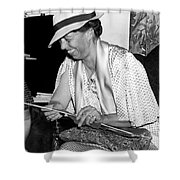 Eleanor Roosevelt Knitting Shower Curtain by Underwood Archives