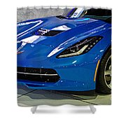 Electric Blue Corvette Shower Curtain