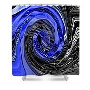 Electric Blue Wound Into Black And White Abstract Shower Curtain
