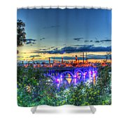 Electric City Refinery Bridge Shower Curtain