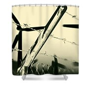 Electric Fence Silhouette Shower Curtain
