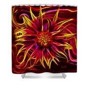Electric Firewheel Flower Artwork Shower Curtain