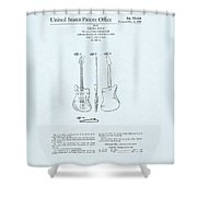 Electric Guitar Patent Drawing On Blue Background Shower Curtain