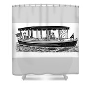 Electric Harbor Launch Shower Curtain by Jack Pumphrey