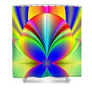 Electric Rainbow Orb Fractal Shower Curtain