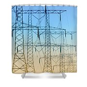 Electricity Pylons Standing In A Row Shower Curtain