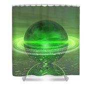 Electronic Green Saturn Shower Curtain