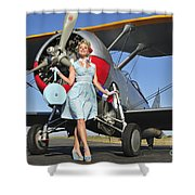 Elegant 1940s Style Pin-up Girl Shower Curtain